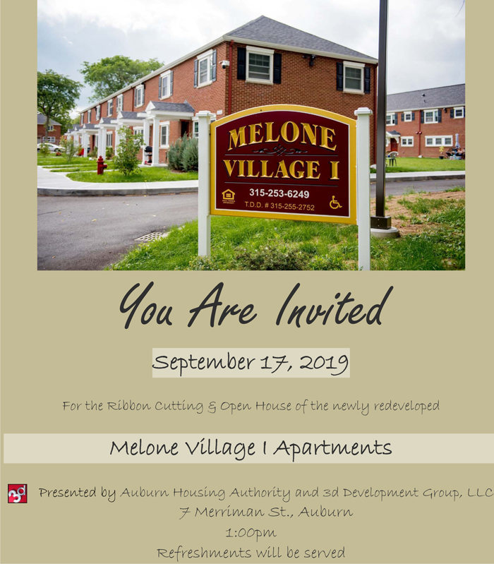Melone Village I Ribbon Cutting, Tuesday, September 17th, 2019