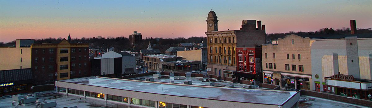 Downtown Auburn, NY, skyline at sunset