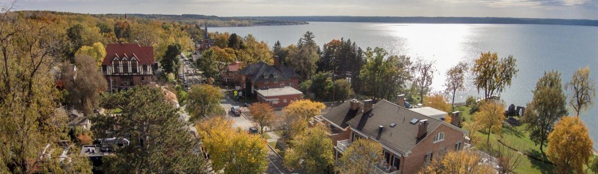 Aerial view of lakeside in Aurora, NY, in fall